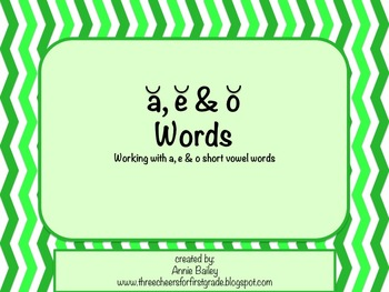 Short A, E & O Word Study Sort and Activities