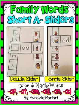 Short A- Family Words- Single & Double Sliders (AD, AG, AM, AN, AP, AT)