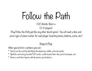 Follow the Path Game: Short Vowel A Literacy Center