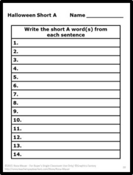 Halloween Language Arts Short A Task Cards