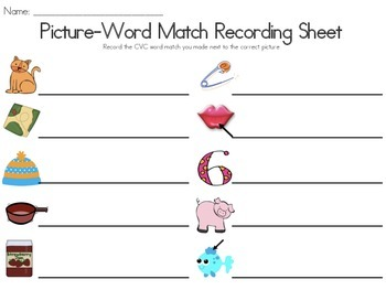 Short A & I Picture-Word Match