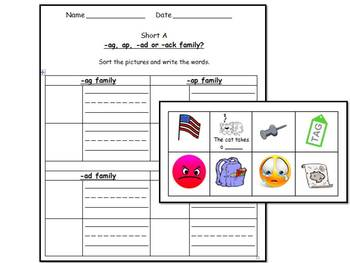 Short A Vowel Literacy Centers