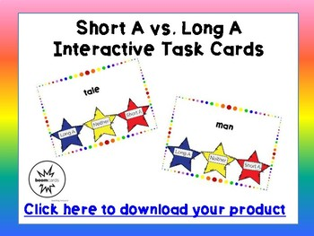 Short A, Long A Interactive Task Cards - Boom Cards