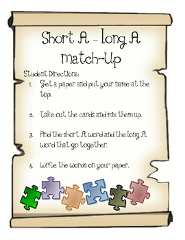 Short A - Long A Match-Up: Making CVC into CVCe