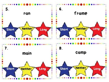 Short A, Long A Task Cards and Sort