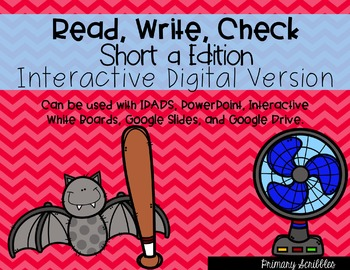 Short A Read, Write, Check Interactive Digital Edition