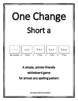 "Short a (CVC)- ""One Change"" Whiteboard Game"