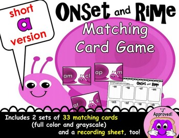 Short A Onset and Rime Matching Game