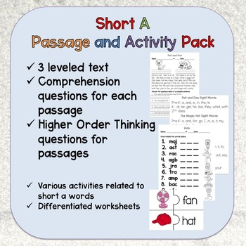 Short A Passage and Activity Pack