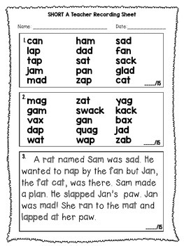 Short A - Phonics Fluency Assessment