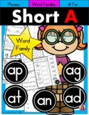 Short A Phonics Practice Printables for Word Families (at, an, ap, ag, ad)