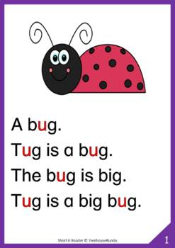 Short U Vowel Reader & Worksheets & Flashcards: Tug the Bug