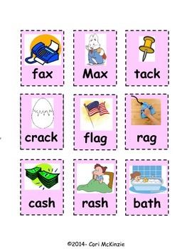 Short A Memory Rhyming Concentration Picture Reading Center Flash Cards