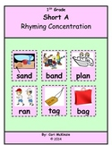 Short A Memory Rhyming Concentration Picture Reading Cente