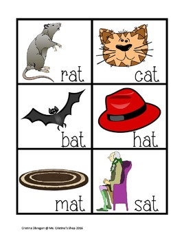 Short A Sound Phonic Flash Cards