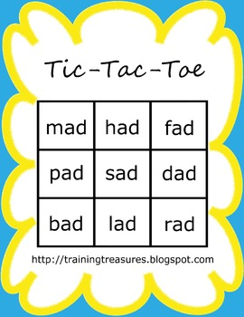 Short A Tic Tac Toe