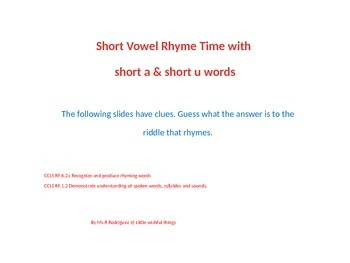 Short A & U Vowel Rhymes