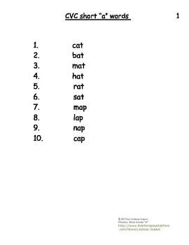 Short A Vowel Blending Packet for Elementary
