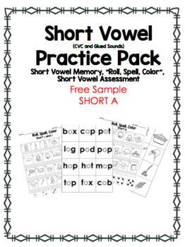 Short  A Vowel (CVC) Preview. Memory + Roll Spell Color *100 Follower Freebie!*