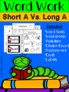 Short A Vs. Long A Word Work Packet