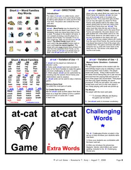 Short A - WORD FAMILY - Card Game