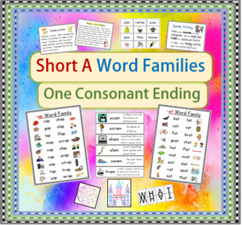 Short A Word Families/ Activities, Posters, & Definitions