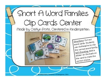 Short A Word Families Clip Card Center