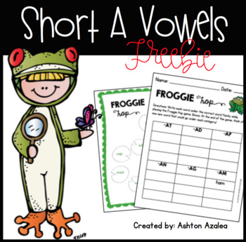Short A Word Families Froggy Game Activity