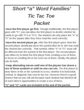 Short A, Word Families' Tic Tac Toe Packet