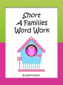 Short A Word Families Word Work