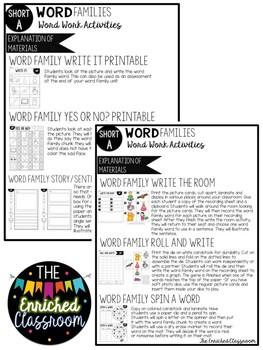 Short A Word Families Word Work Activities Bundle