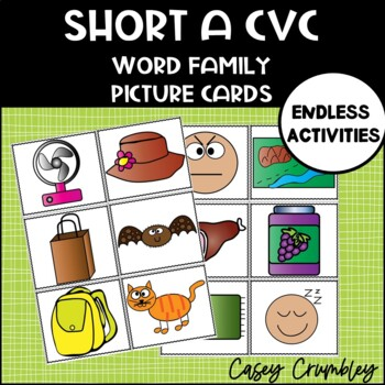 Short A Word Family CVC Picture Cards
