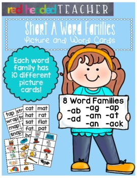 Word Families - Short A Word Family Picture and Word Cards