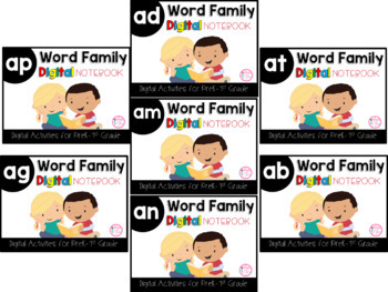 Short A Word Family Digital Notebook Growing Bundle (AN, AP, AD, AT, AG, AM, AB)
