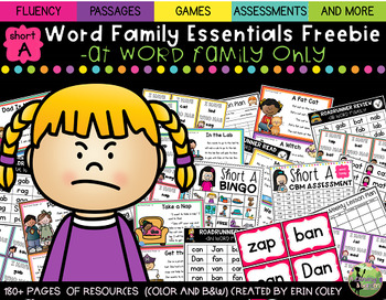 Short A Word Family Fluency Essentials FREEBIE: Small Group Resources