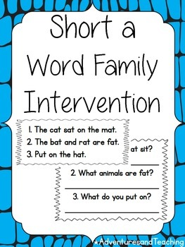 Short A Word Family Intervention {Phonics}