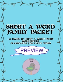 Short A Word Family Phonics Worksheet Packet SAMPLE