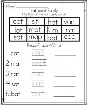 Short A Word Family Printables