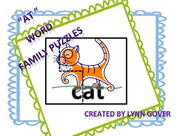 Literacy Center Short A Word Family Puzzles for AT Family
