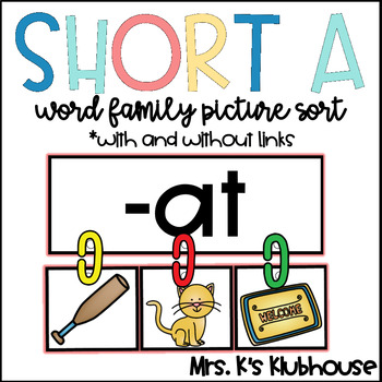 Short A Word Family Sort