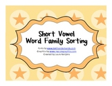 Short A Word Family Sorting - freebie