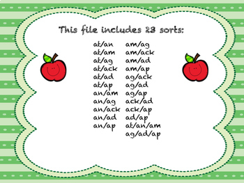 Short Vowel Word Family Sorts- A