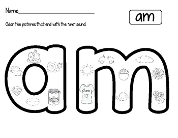 "Short ""A"" Word Family Worksheets"