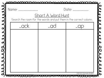 Short A Word Sort & Word Hunt