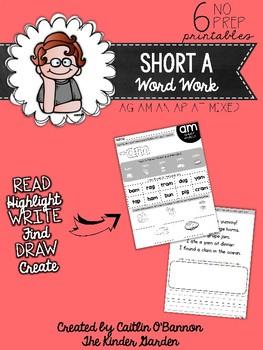 Short A Word Work Printables