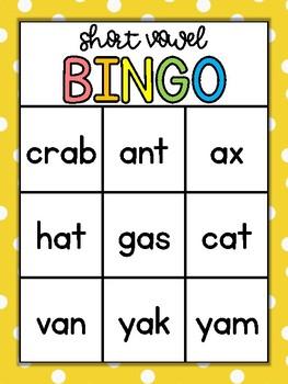 Short A Words Bingo