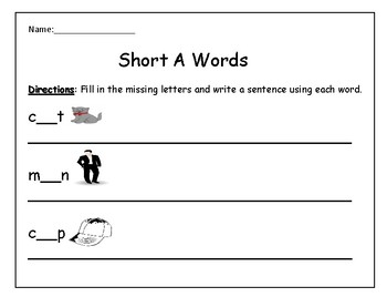 Short A Worksheet