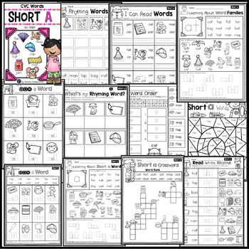 Short A Worksheets ~ CVC Words Activities NO PREP Printables