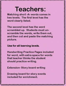 Kindergarten Short A activities, NO PREP