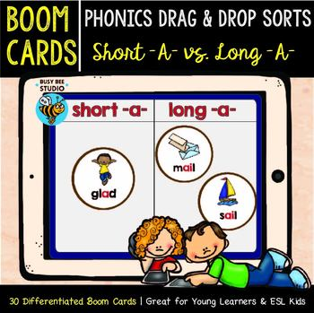 Short -A- and Long -A- Sorts | Boom Cards | Phonics Drag and Drop Sorts